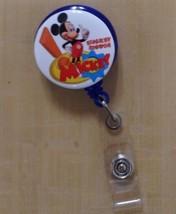 Mickey Mouse Clip badge reel key card ID holder lanyard retractable scrub Disney - $8.75