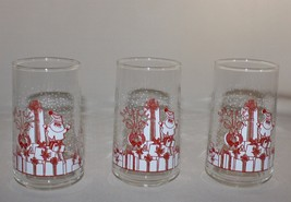 3 Libbey Crisa Clearly Santa Claus Presents Christmas 8 oz Glass Tumbler... - $10.88