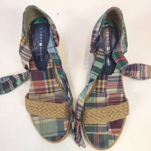 Sandals Fabric Tommy Wedge Tie 8 Ankle Espadrilles Hilfiger Plaid Womens aqqnfxt