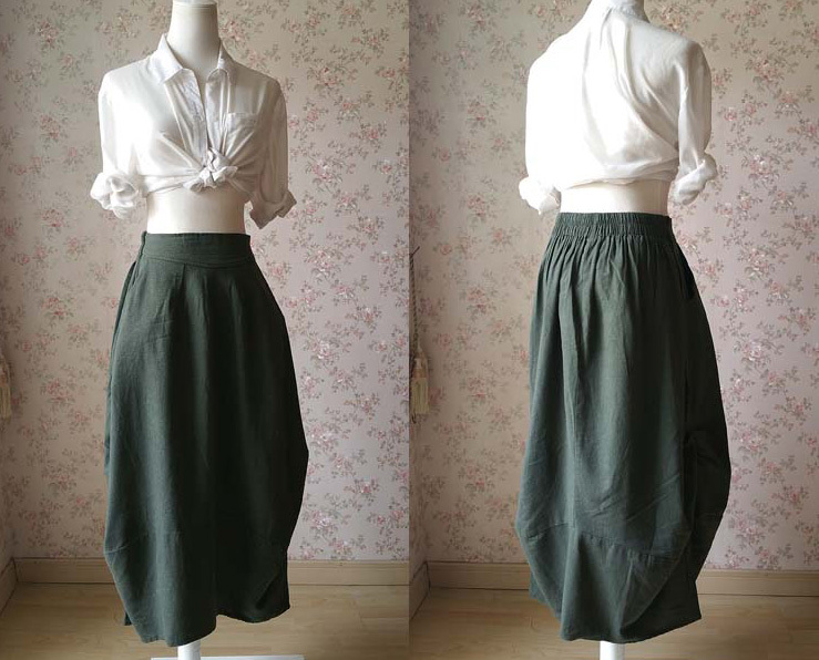 Army Green Loose Long LINEN Skirt Boho Skirt Army Green Asymmetric Skirts NWT