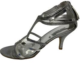 Nine West Knoll women's evening party shoes metallic silver zip back size 10M - $18.80