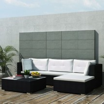 vidaXL Outdoor Sofa Set 14 Pieces Wicker Poly Rattan Black Garden Patio lounge - $398.99