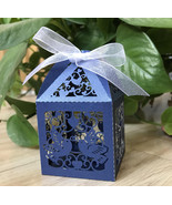 100pieces Navy Blue Laser Cut Wedding Gift Boxes with ribbon,Wedding Fav... - $34.00+