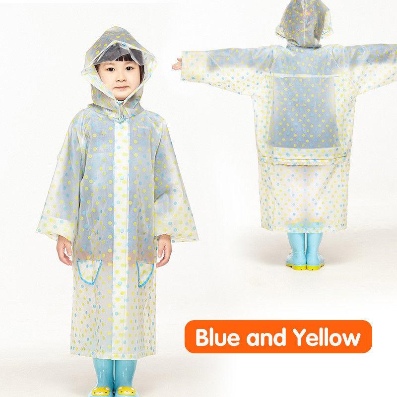 Waterproof Children Raincoat Kids Poncho Transparent Plastic Rain Coat EVA Dots