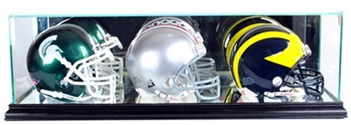 Perfect Cases NFL Triple Mini Football Helmet Glass Display Case, Black