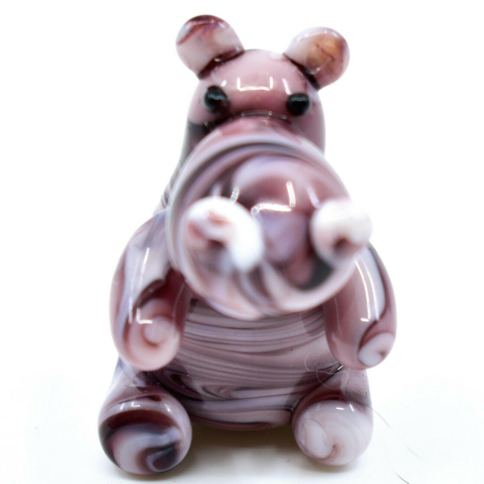 Dynasty Gallery Handmade Art Glass Hippopotamus Hippo Magnet