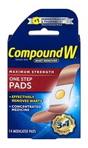 Compound W Salicylic Acid Wart Remover | Maximum Strength One Step Pads | 14 Med