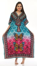 Beautiful Butterfly Long Kaftan, Hippy V-Neck Maxi Boho Caftan, Free Size - $12.19