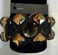 New $178 Marc By Marc Jacobs Black Gold Leather Jewel Bracelet - $63.99