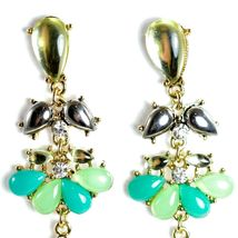"Mode Mint Green & Black Lucite Bead 2.5"" Drop Post Dangle Earrings New with Tag image 6"