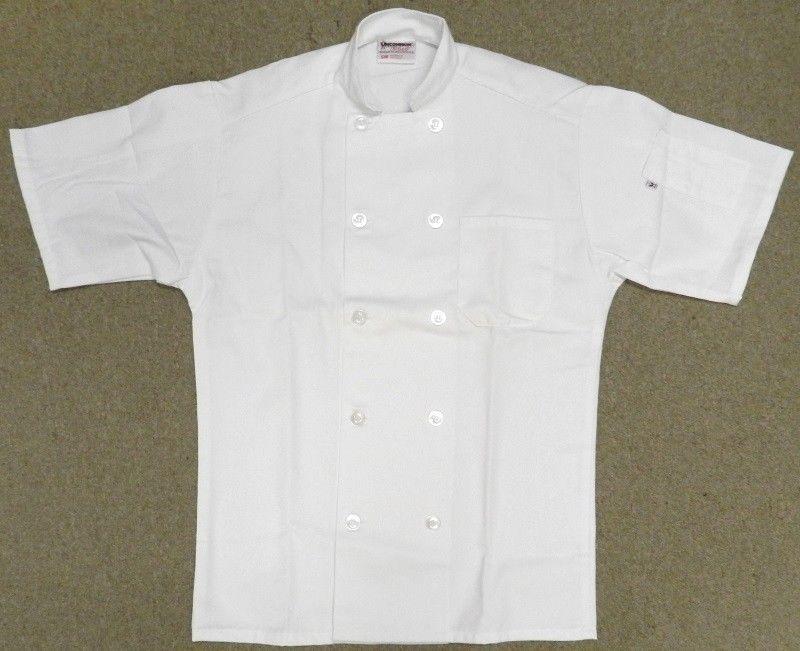 Chef Jacket L Uncommon Threads 415 White Short Sleeve Coat Uniform Unisex New