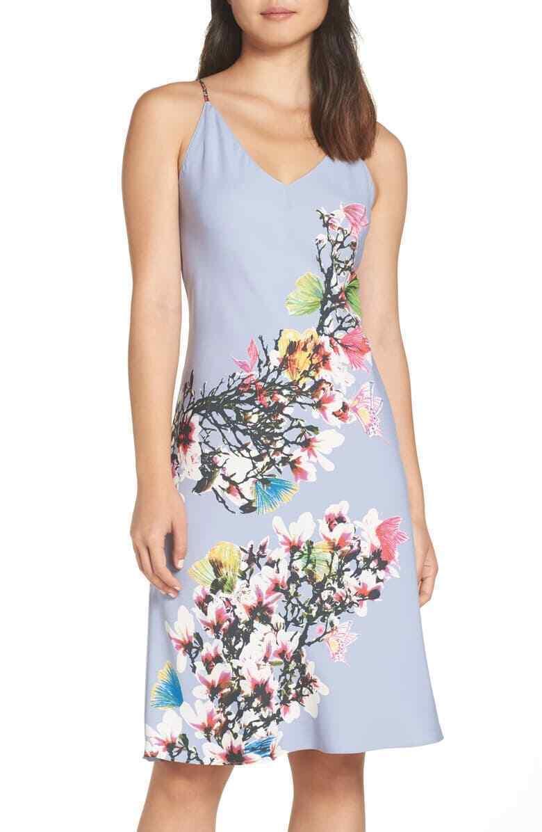 NWT New Designer Natori Womens XL Night Gown Silky Light Blue Pink White Flower