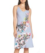 NWT New Designer Natori Womens XL Night Gown Silky Light Blue Pink White... - $104.00