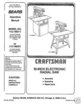 Sears Craftsman  Radial Arm Saw Manual No.113.198251 - $10.88