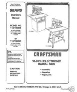 Sears Craftsman  Radial Arm Saw Manual No.113.198251 - $10.88