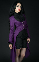 Purple Victorian Gothic Corset Back Jacket Long Flared Flowing Steampunk... - $71.53