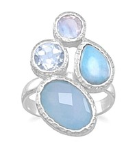 Chalcedony, Larimar, Topaz and Moonstone Cluster Ring - $59.97