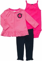 Carter's Baby Girls 3-Piece Striped Cardigan Pink Body Navy Blue Pant Se... - $15.99