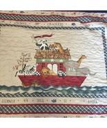 "Animal Crackers Noah's Ark Quilt Handmade Crib Blanket Quilt 33"" x 42""  - $19.34"