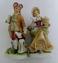 Royal Crown Victorian Man & Woman Figurines Bisque w/ Dog and Bird Vintage  - $16.71