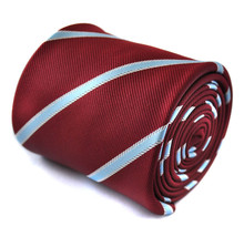 Frederick Thomas maroon with light blue ribbon striped tie FT1446