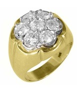 MENS DIAMOND CLUSTER RING BRILLIANT ROUND CUT 2.5 CARAT 7 STONE 14KT YEL... - $4,747.05