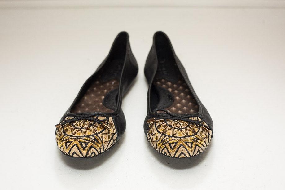 Born Size 6.5 Black Gold Ballet Flats