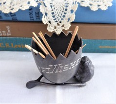 Toothpick Holder Chick Wishbone Egg Best Wishes Pewter 1970s Victorian Copy - $16.00