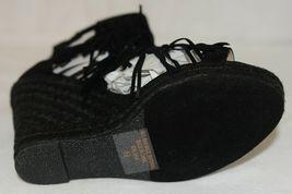 BF Betani Shiloh 8 Black Fringe Wedge Heel Sandals Size 6 And Half image 6