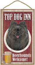 "Top Dog Inn Beerhounds Pomeranian Black Bar Sign Plaque dog 10"" x 16"" Beer - $21.95"