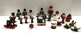 "25 Vintage Wooden Painted Christmas Ornaments 2"" Miniature Small Tiny Fi... - $37.21"
