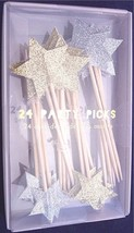 NIB Meri Meri Gold & Silver Glitter Star Party Picks Cupcake Toppers, Bo... - £6.96 GBP
