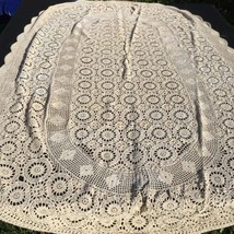 "Ecru Hand Crochet Tablecloth 68"" x 104"" Oval Cotton Keeco - $48.37"