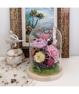 Floral Arrangement Preserved Real Flower and Moss Bear Figurine in Glass... - $54.95+