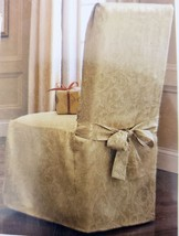 """Gold Armless Dining Room Chair Cover - Fits Chairs Up To 42"""" Tall - $44.99"""