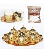 27 Pc Ottoman Turkish Greek Arabic Coffee Espresso Serving Cup Saucer Gold - $58.00
