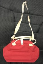 """Red Canvas Shoulder Bag Purse With tan leather trim New no tags 12 1/2""""x... - $5.79"""