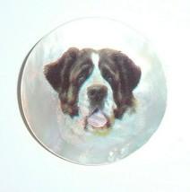 Adorable Saint Bernard Dog MOP Button on Mother of Pearl Shank Button 1-... - $11.99