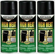 3~ RUST-OLEUM High Heat Spray Paint BBQ Black Stops Rust Stoves Grills E... - $18.99