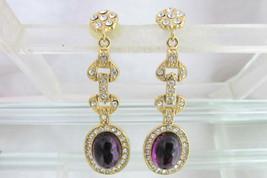 Vintage Purple Gripox Glass Rhinestone Long Earrings Designer Quality El... - $17.99