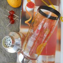 1970's Glass Cocktail Shaker. Recipes Margarita, Pina Colada, Tequila & ... - $64.00
