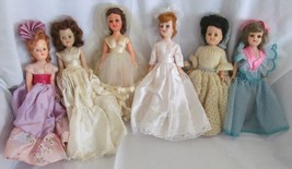 "Vintage 7"" Plastic Dolls, sleep eyes, pretty dresses - lot of 6 dolls - $7.85"
