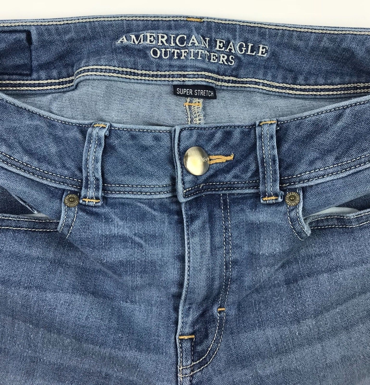 American Eagle Outfitters Super Stretch Kick Boot Denim Blue Jeans Women's 8R image 2