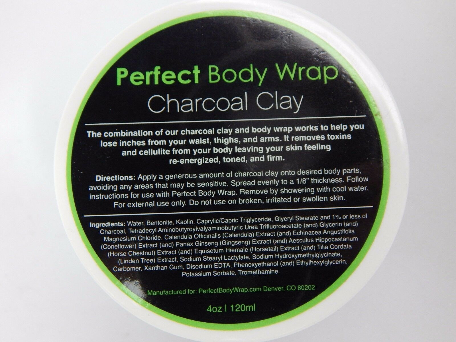 2 Jars of Detoxifying Charcoal Clay Body Wrap 4 oz Cellulite Detox Toning