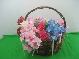 Vintage Oval Hand Wooven Stick Twig Basket with Handle & Floral Décor Di... - $14.92