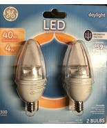 GE 40W LED Candelabra Base Bulbs Daylight  Dimmable - Pack of 2 - $19.75