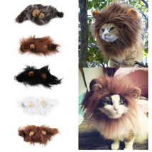 Pet Cat Emulation Lion Hair Mane Ears Head Cap Autumn Winter Dress Up Co... - $9.58