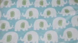 Carters baby blanket velour blue white elephants green sherpa back  - $14.84