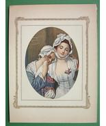 LOVELY MAIDEN Village Councellor - COLOR Antique Print GREUZE - $10.12
