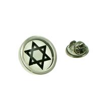 Star of David Bordered design. Lapel Pin Badge / tie pin in gift box